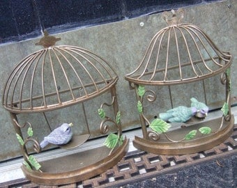 Whimsical Pair of Bird Cage Wall Hangings
