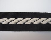 "Vintage Grosgrain Black and Cream Cable Ribbon Trim Sewing Trim Sewing Ribbon 1"" Wide Grosgrain Trim Vintage Trim 5 Yards Length by BySupply"