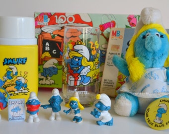 Smurfs Vintage Ultimate Collection! Lot includes Figures, Ceramic, Smurfette Glass & Plush, Button, Puzzle, Card Game, Thermos All Originals