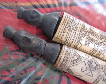 Vintage Primitive Tribal Carved Bone Medicine Containers Batak Indonesia
