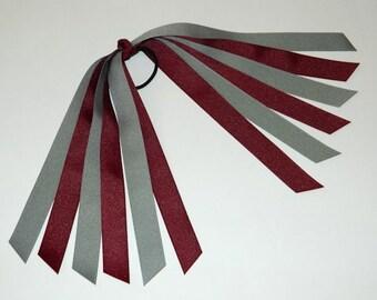 Burgundy & Gray Ponytail Holder - School Uniform Ponytail Holder - School Uniform Hair Accessories