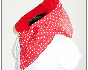 Hooded Scarf - red and white polka dots