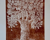 Limited edition woodcut print of tree