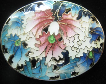 """SALE Sterling Silver Enameled Vintage Brooch with Orchid Design in Shades of Blue, Pink, and White.  Almost 1-3/4"""" W x  1-1/4"""" H."""