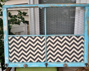 Reclaimed Old Window - Shabby Chic Aqua Blue frame - Gray Chevron Fabric Cork Board - Chicken Wire - Ceramic Gray Speckled Knobs - Wedding
