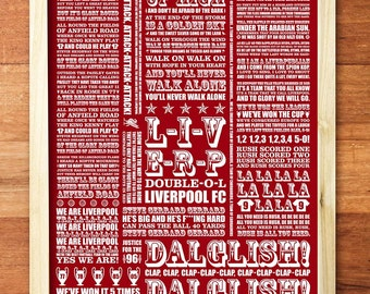 A3 LFC Red & White 'Shall we sing a song for you' digital print
