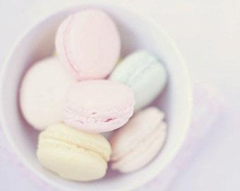 Food Photography - Kitchen Art - Macarons - Nursery - French - Dining Room - Kitchen - Fine Art Photography Print - Pink Pastel Home Decor