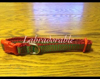 Christmas red and green chevron dog collar