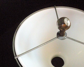 White Glass Lamp Fixture Shade With Brass and Glass Ball Finial
