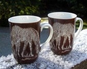 Pair of Vintage Zebra Mugs - Shafford Safari - Two Fine China Mugs with Gold Trim