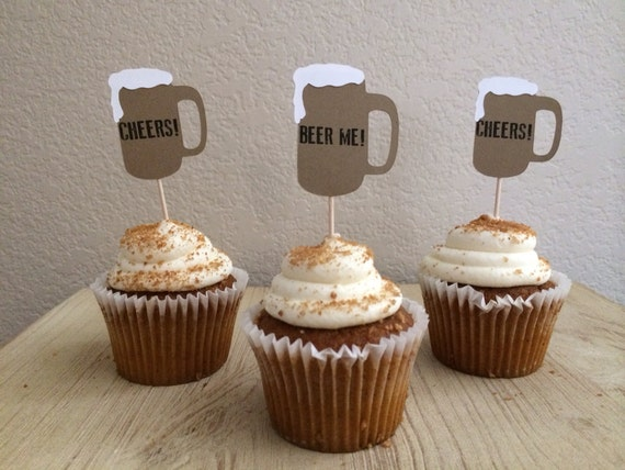 12 Beer Mug Cupcake Topper Food Pick By TheTinyToppery
