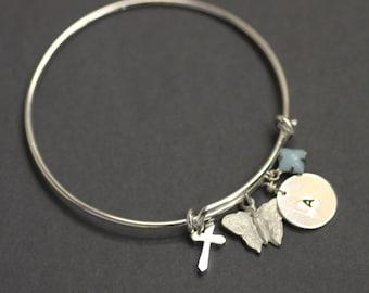 Custom Initial-adjustable bangle  , Perosnilized Bracelet, Initial Bracelet, Initial Bangle, silver Bangle Bracelet, charm ,seahorse