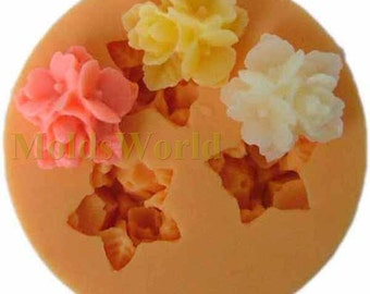A112 Flower Cabochon 3 Cavities Fondant Flexible Silicone Mold Mould for Crafts, Jewelry, Cake,Scrapbooking,  (resin,  pmc, polymer clay)