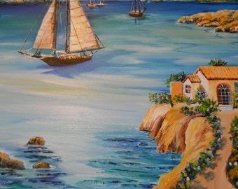 Sardinia Blue Seaside, Sardinia Island Oil, Sardegna Oil, Costa Smeralda Oil, Porto Cervo Art, Dan Leasure Oil