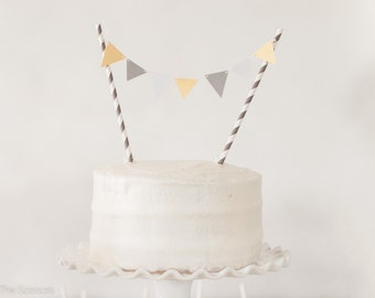 Modern Yellow and Gray Cake Topper, Pennant Cake Topper, Baby Shower Topper, Wedding Cake Topper,  Baby Shower Decoration, Birthday Party