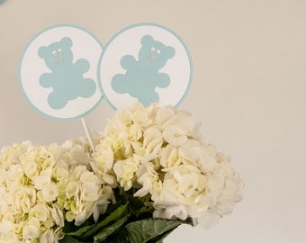 Baby Shower Centerpiece Sticks, Teddy Bear Baby Shower Decoration, Boy Baby Shower, Blue Gray Baby Shower