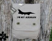I Heart My Airman - Military Support Canvas Messenger Bag - Laptop Bag - iPad Bag - Diaper Bag - School Bag