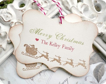 Personalized Merry Christmas Tags - Vintage Inspired - Set of 6
