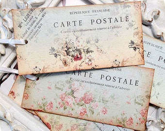 Assorted Shabby Postcard Tags - Set of 6 - Shabby Gift Tags-Paper Ephemera-French Postcard Tags