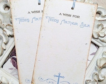 Personalized Cross Baptism / Christening / Baby Shower Wish Tree Tags - Prayer Card / Prayer Tag - Set of 12