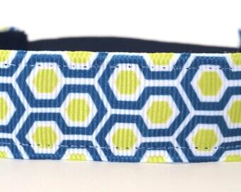 Fitness Non Slip Headband - Modern Honeycomb Lime & Navy | Running headband | Workout Headband | Yoga Headband | Modern Print Headband