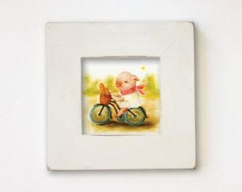 Shabby Chic Baby Girl Nursery, Pig Nursery Art, Farm Animal Kids Wall Art