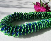 Hawaiian Ribbon Lei Lime Green and Royal Blue