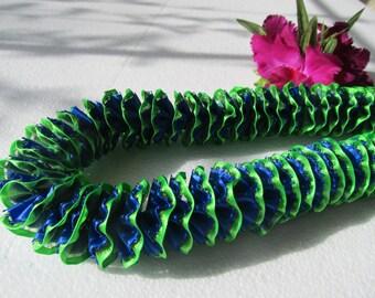 Hawaiian Ribbon Lei Lime Green and Royal Blue