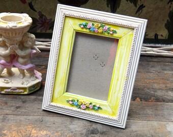 Frame, 6 x 8 Frame, Painted Frame, Unique Frame, Yellow Blue Green Pink Floral Frame, Cottage Decor, Rustic Painted Frame, Yellow Frame