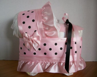 pink and black polka dot dots girl diaper bassinet baby shower gift table decoration