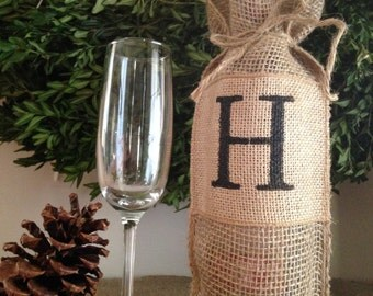 Burlap Wine Bag with Initial