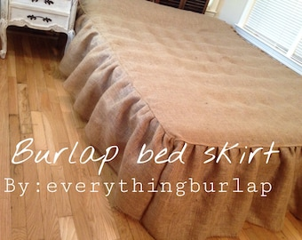 Rustic Burlap bed skirt