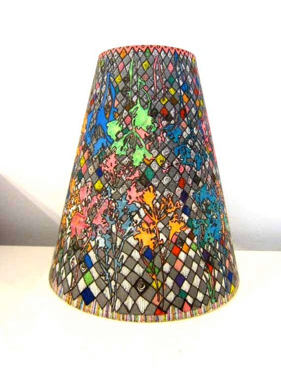 original wonderland lamp shade hand drawn and painted one of a. Black Bedroom Furniture Sets. Home Design Ideas