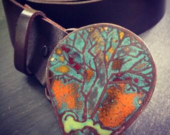 enameled tree belt buckle
