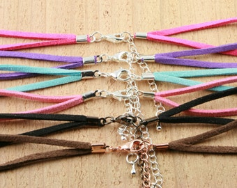 Special Price - 25 FAUX SUEDE BRACELET Cord  - Lobster Clasp and Extender Chain Creates Interchangeable Bezel Tray Jewelry