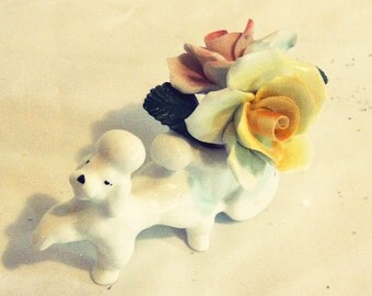 Cotswold Florals English Bone China White Poodle Dog Rose Bouquet