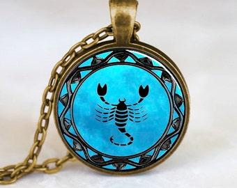 Scorpio Pendant, Scorpio Zodiac Necklace, Scorpio jewelry, Bronze (PD0321)