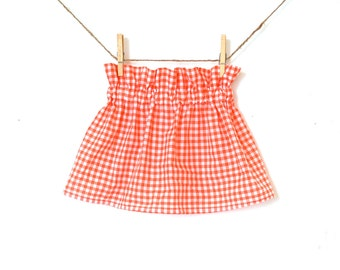 Girls Coral Gingham High Waisted Ruffle Skirt / Lightweight Cotton Lawn  / 6 months to 10 years / Made to Order