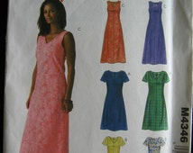 McCalls Easy Stitch n Save Pullover Dress Pattern M4346 UC Uncut FF Size 8 10 12 14