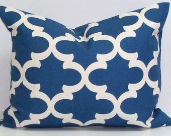 BLUE PILLOW.12x20,16x20 or 16x24.Pillow Cover.Decorative Pillows.Housewares.Blue Tile.Moroccan.Quatrefoil.Shamrock.Cushion.Cm.Cover.New Blue