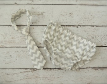 Baby Boy Tie and Diaper cover SET - Grey Chevron