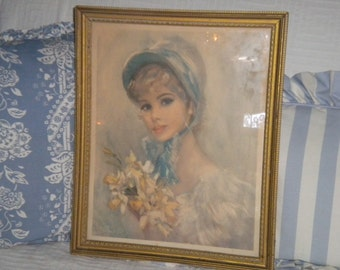 Pretty Vintage Signed Young Lady Print, French Country, Shabby Chic, Cottage Chic, Victorian