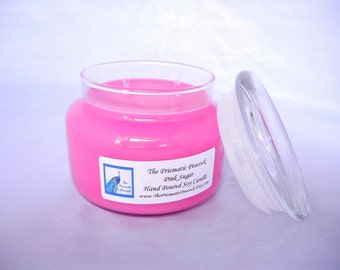 pink sugar scented soy candle 12 oz apothecary jar pink