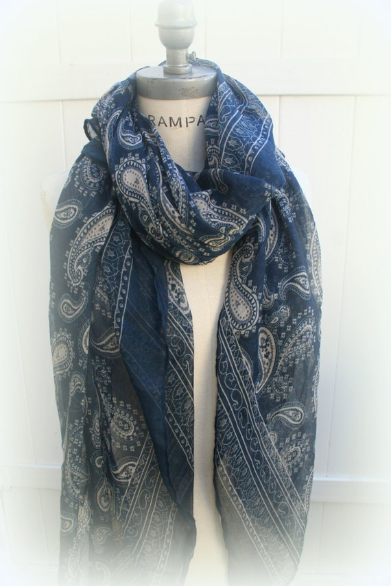 blue paisley scarf scarves trendy summer soft by piyoyo