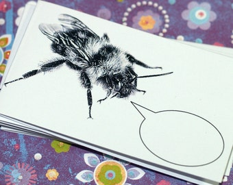BUZZING BUMBLEBEE ... Mini Notecards . Stationery Set . Insect . Bee . Captioned Critters . Gift Cards . Folded Notes . Thank You . Tiny