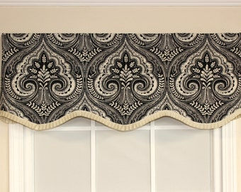 Damask Scalloped Valance with French pleated Grosgrain Ribbon