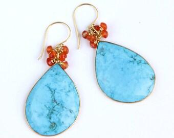 Statement Turquoise Earrings, Orange Carnelian, Sky Blue, Bezel, Large Gemstones