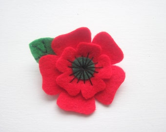Poppy Brooch Felt, Christmas Felt Flower Brooch, Remembrance Day Poppy Appeal Brooch with leaf