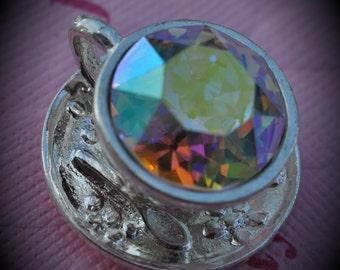 Silver Plated Genuine Swarovski Crsytal Tea Cup Dentelle In Crystal AB Pendant