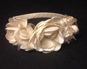 Ivory flower crown, Wedding headpiece, Ivory/gold flower wreath, Bridal headband, Bridesmaids gift, First communion, Flower girl headband